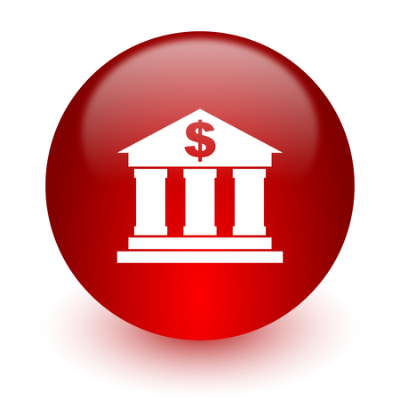 bank red computer icon on white background  photo