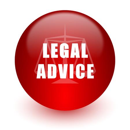 asesoria legal: asesoramiento jur�dico icono de la computadora de color rojo sobre fondo blanco