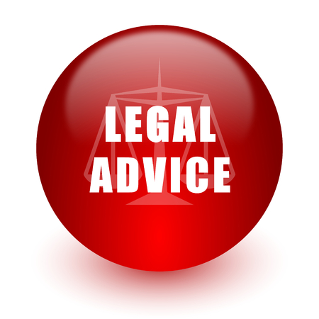 legal advice red computer icon on white background  photo