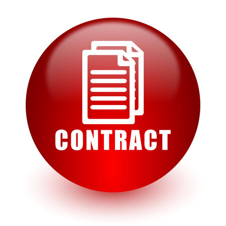 contract red computer icon on white background  photo