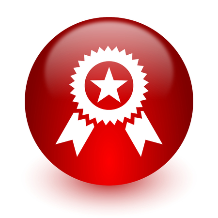 award red computer icon on white background  photo