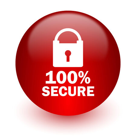 secure red computer icon on white background  photo