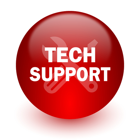 technical support red computer icon on white background  photo
