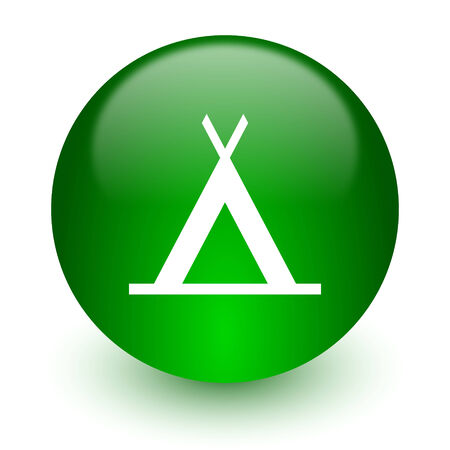 3d bungalow: green glossy web icon