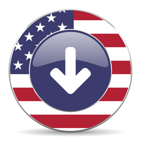 american downloads: web glossy icon Stock Photo
