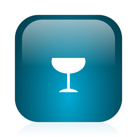 champain: blue glossy web icon