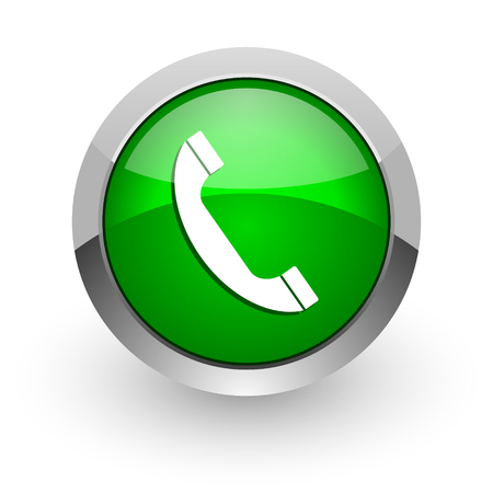 contact icon: green glossy web icon