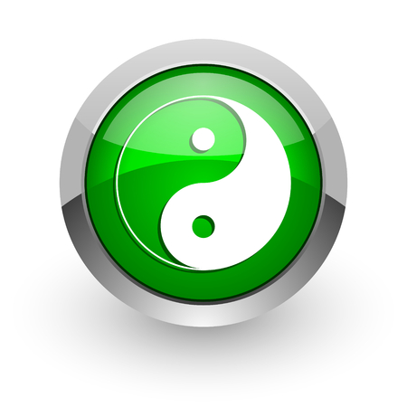 yang ying: green glossy web icon