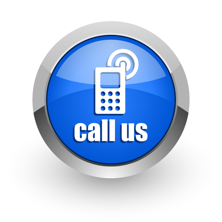call us: blue glossy web icon