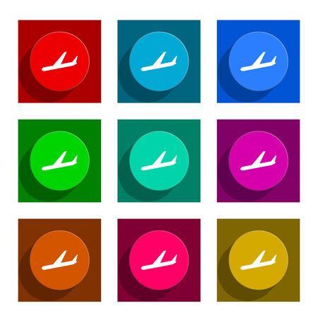 arrivals: arrivals colorful flat icons set