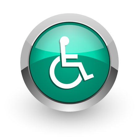 wheelchair green glossy web icon  photo