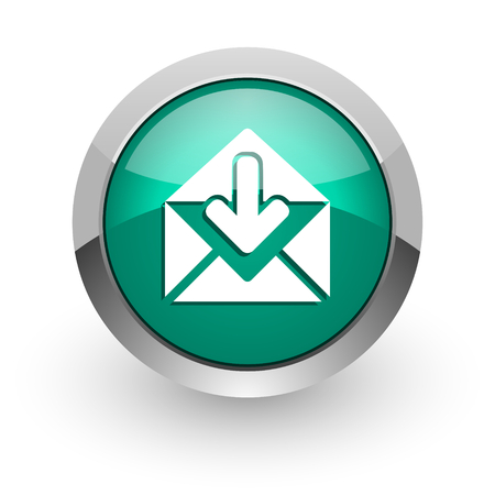 email green glossy web icon  photo
