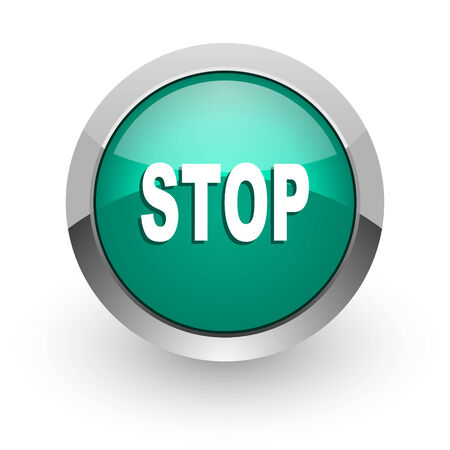 proscribed: stop green glossy web icon