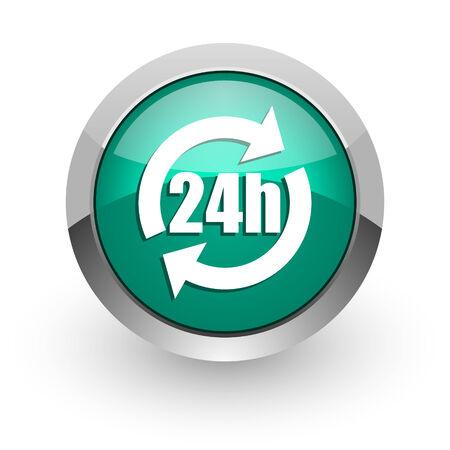 24h: 24h green glossy web icon