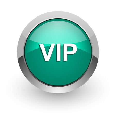 vip green glossy web icon  photo