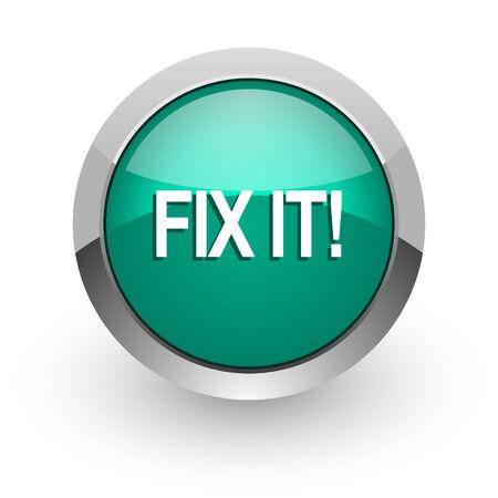green it: fix it green glossy web icon