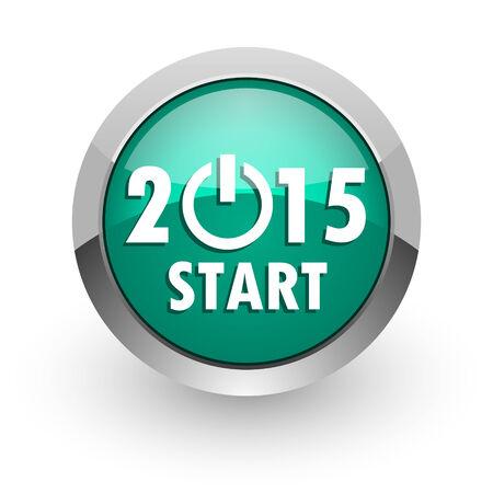new year 2015 green glossy web icon  photo
