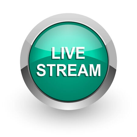 live stream sign: live stream green glossy web icon