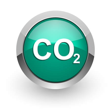 carbonic: carbon dioxide green glossy web icon