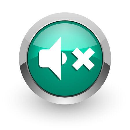 sound off: speaker volume green glossy web icon  Stock Photo