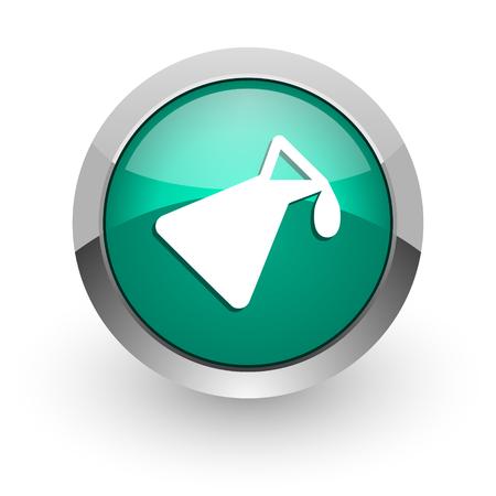 chemistry green glossy web icon  photo