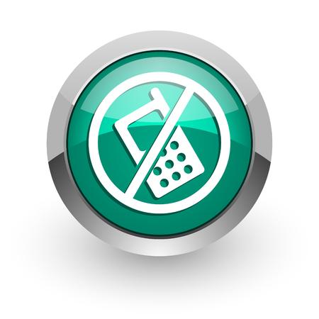 no phone green glossy web icon  photo
