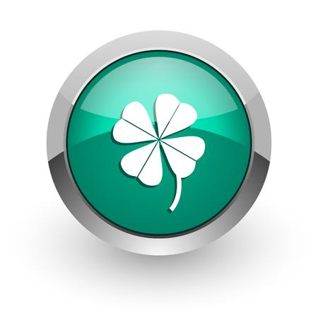 fourleaf: four-leaf clover green glossy web icon  Stock Photo
