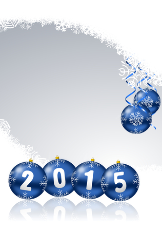 happy new years: 2015 new year illustration with christmas balls