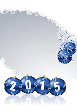 nouvel an: 2015 nouvelle illustration de l'ann�e avec des boules de No�l Banque d'images