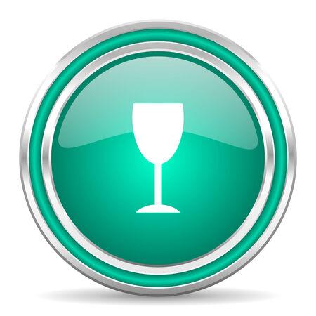 champain: green glossy web icon