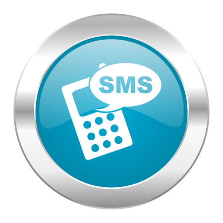 internet blue icon on white background photo
