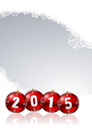 2015 new years illustration with christmas balls and snowflakes on white background illustration