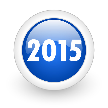 new year 2015 blue glossy icon on white background photo