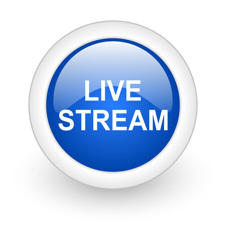 news cast: live stream blue glossy icon on white background