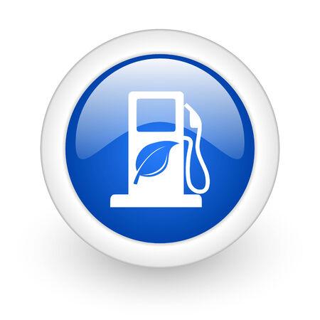 canola: biofuel blue glossy icon on white background  Stock Photo