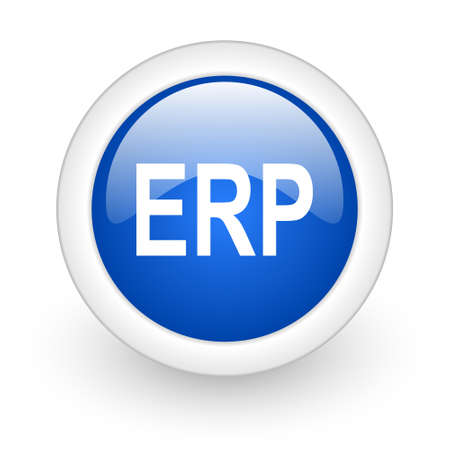 erp blue glossy icon on white background  photo