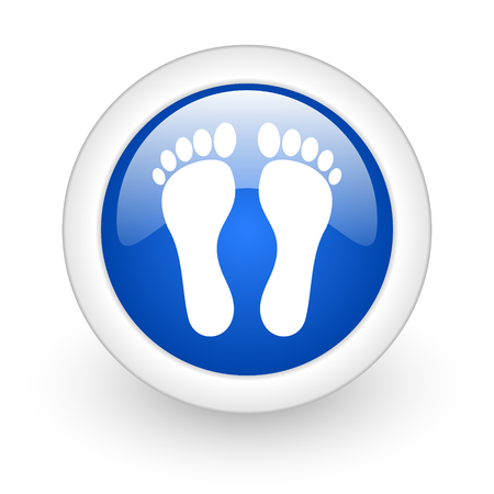 foot blue glossy icon on white background  photo