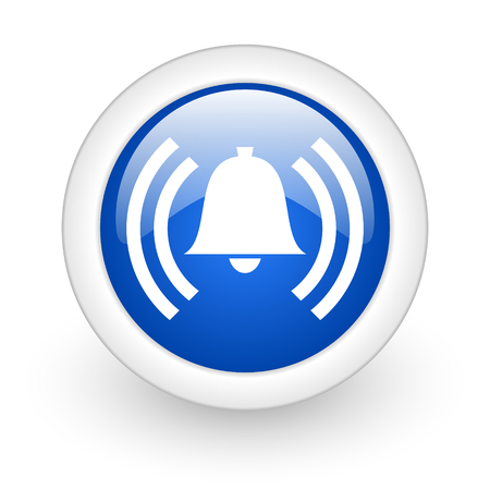 alarm blue glossy icon on white background