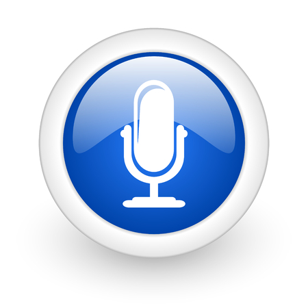 microphone blue glossy icon on white background  photo