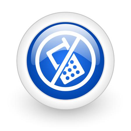 no phone blue glossy icon on white background  photo