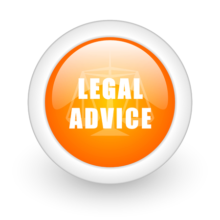 asesoria legal: asesoramiento jur�dico naranja icono web brillante sobre fondo blanco Foto de archivo