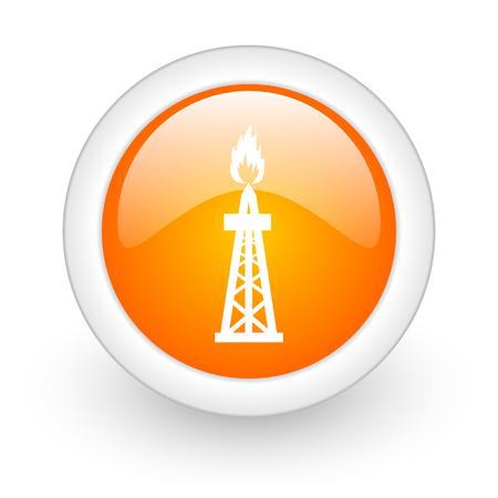 gas orange glossy web icon on white background  photo