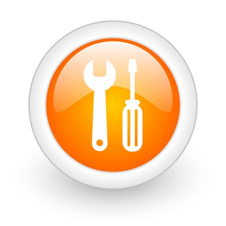 tools orange glossy web icon on white background photo