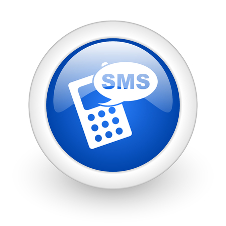 sms blue glossy icon on white background  photo