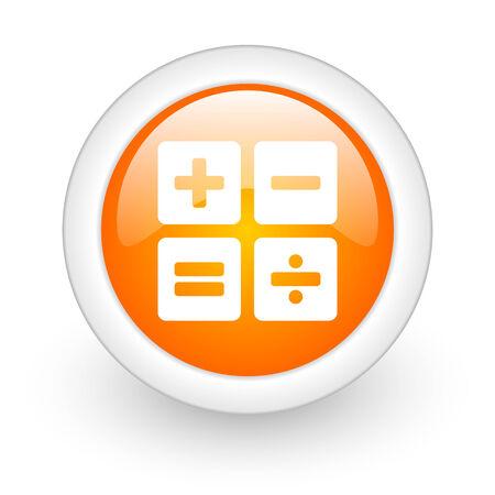 calculator orange glossy web icon on white background  photo