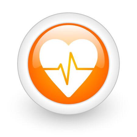 pulse orange glossy web icon on white background  photo