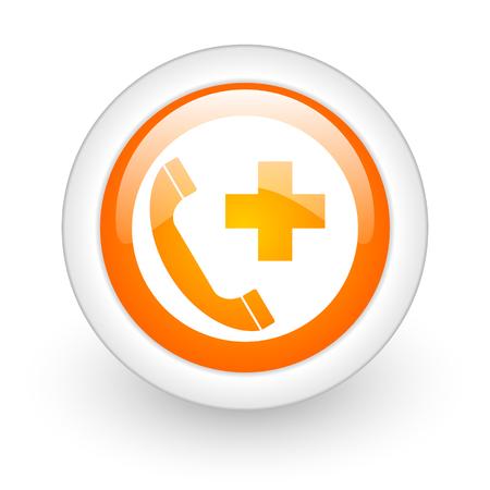 emergency call orange glossy web icon on white background  photo