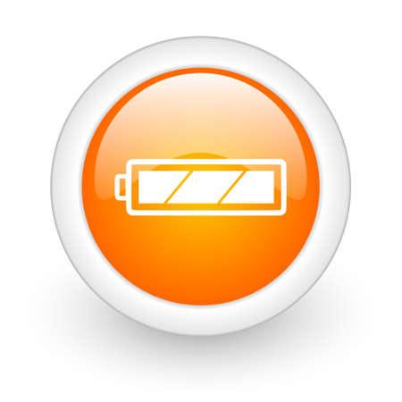 accuse: battery orange glossy web icon on white background