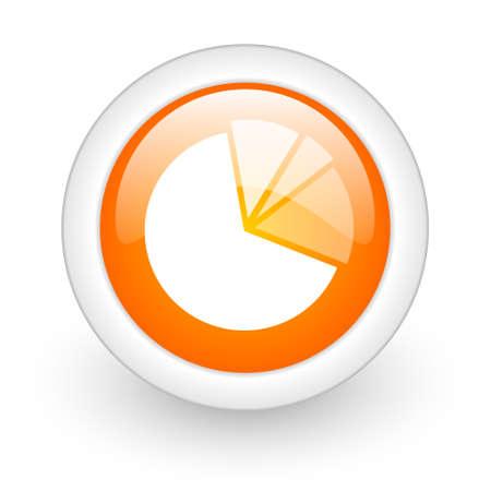 diagram orange glossy web icon on white background  photo