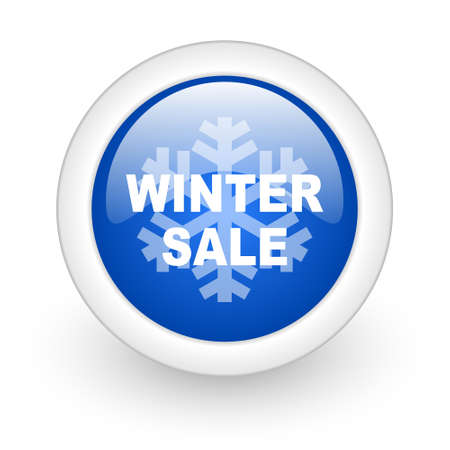 winter sale blue glossy icon on white background  photo